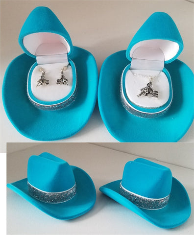 Barrel Racer Jewelry set in Cowboy Hat Gift Boxes