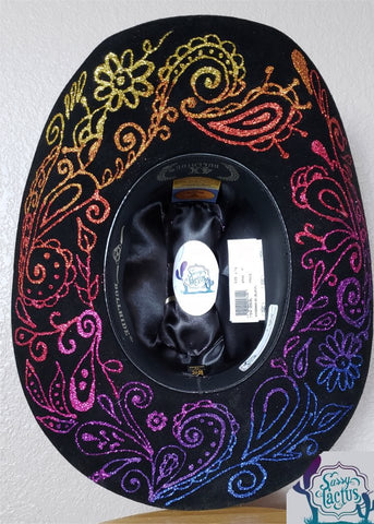 Glitter Swirl Black Felt Bling Cowboy Hat Size 6 7/8 - IN STOCK
