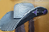 Purple and Black Arrow Hand Painted Straw Cowboy Hat