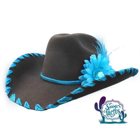 Ribbon Whipstich and Plume Felt Cowboy Hat
