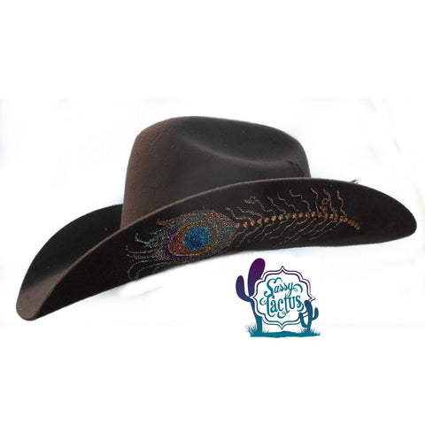Peacock Bling Brown Felt Cowboy Hat