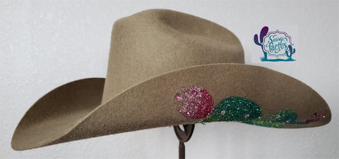 Bling Cactus Tan Felt Cowboy Hat Size 7 1/8 - IN STOCK