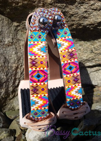 Bling Stirrups - Angled Copper with Bright Aztec Design