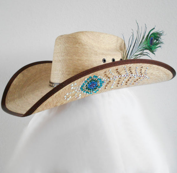 Rhinestone Peacock Feather Bling Cowgirl Hat – Sassy Cactus 44453f1c85c