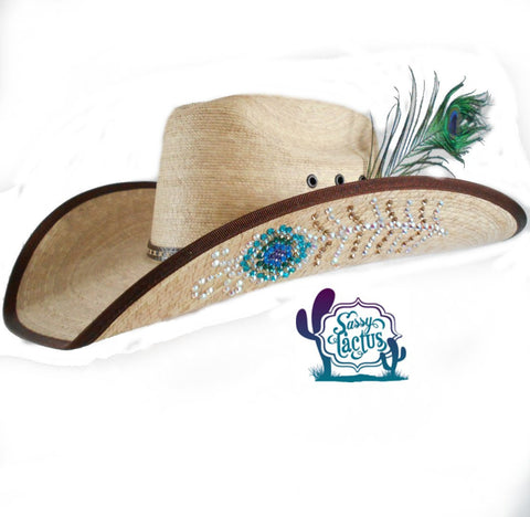 Rhinestone Peacock Feather Straw Cowboy Hat