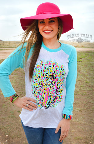 Fancy Feathers Peacock Baseball Tee