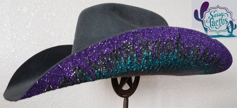 IN STOCK Glitter Ice Purple, Silver and Turquoise Gray Felt Cowboy Hat - Size 6 7/8