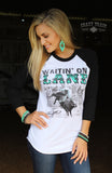 """Waitin' on Lane"" Original Black and White  Baseball Tee"