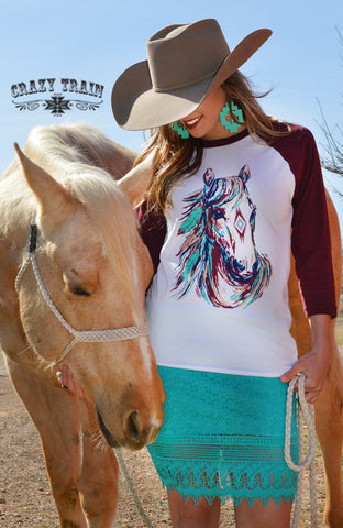 Long Shot Horse Baseball Tee