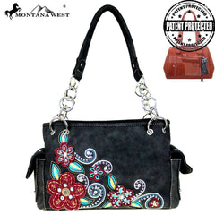 Montana West Floral Concealed Carry Western Purse Black