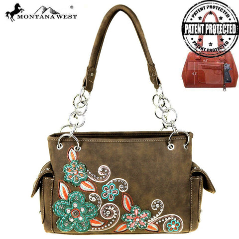 Montana West Floral Concealed Carry Western Purse Brown