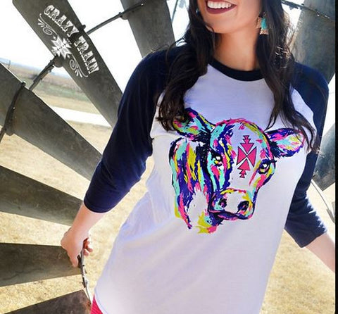 Young Gun Cow Baseball Tee