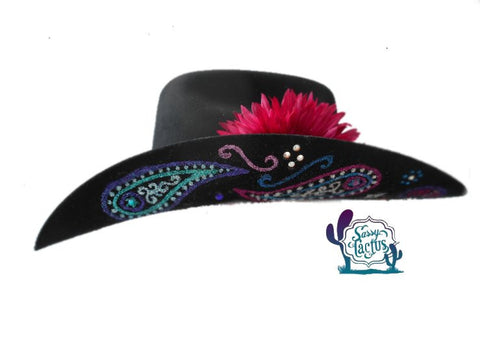 """Carter"" Paisley Bling Black Felt Cowboy Hat"