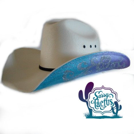 Silver Swirl Hand Painted Straw Cowboy Hat