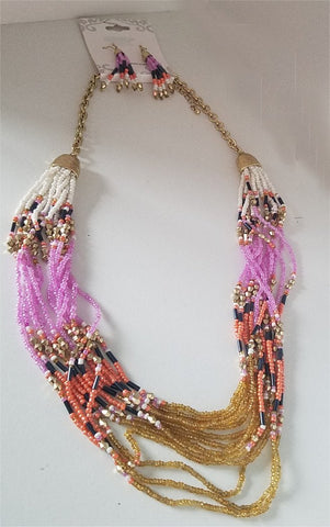 Pink and Tan Beaded Necklace and Earring Set