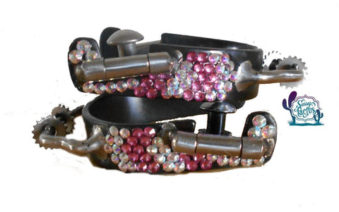 Bling Bumper Spurs with Rowels - Pink Swarovski Crystals