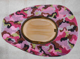 Pink Camo Glitter Hand Painted Straw Cowboy Hat