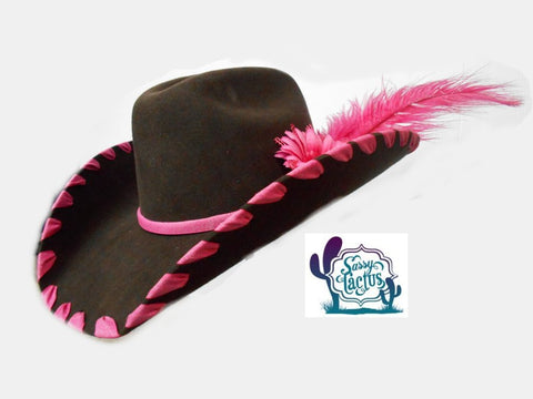 Pink Ribbon Whipstich and Plume Felt Cowboy Hat - Size 7 - IN STOCK