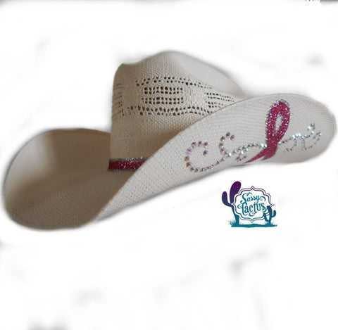 Custom Pink Ribbon Bling Cowboy Hat - Black Felt