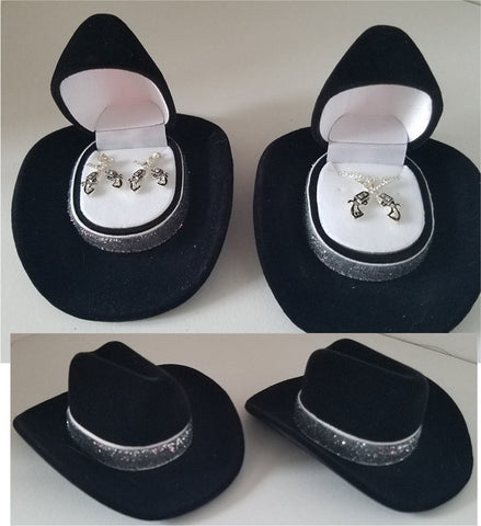 Crossed Pistols Jewelry set in Cowboy Hat Gift Boxes
