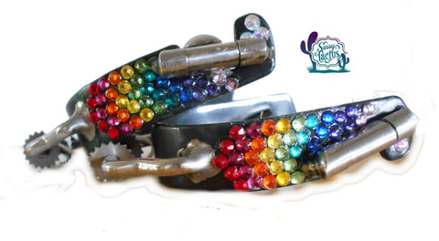 Bling Bumper Spurs with Rowels - Rainbow Swarovski Crystals
