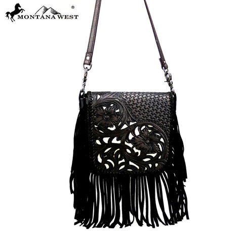 Montana West 100% Real Leather Tooled Crossbody - Black Fringe