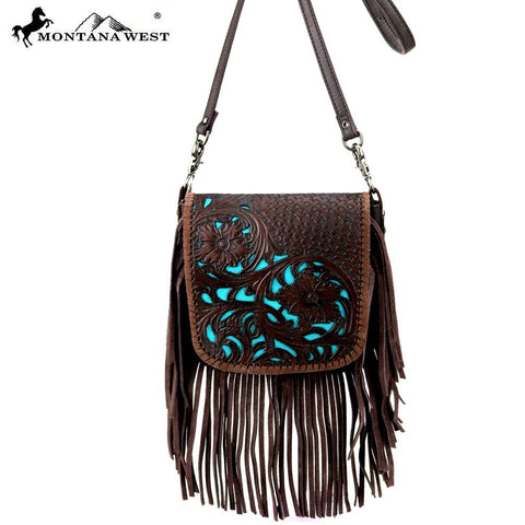 Montana West 100% Real Leather Tooled Crossbody - Turquoise and Coffee Fringe