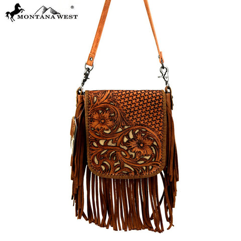 Montana West 100% Real Leather Tooled Crossbody - Light Brown Fringe