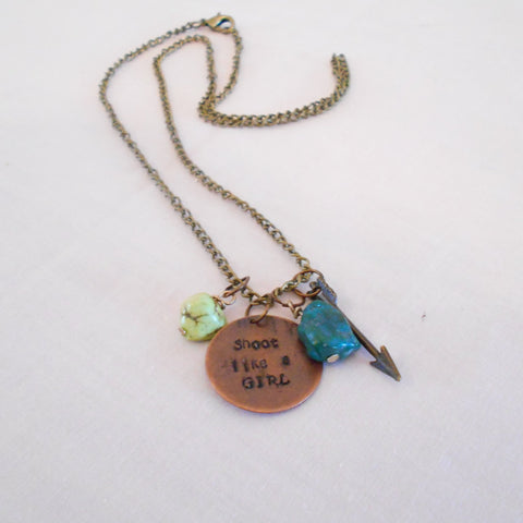 Shoot Like a Girl Archery Theme Necklace-SOLD
