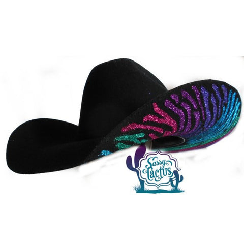 Zebra Bling Felt Cowboy Hat - Custom Colors