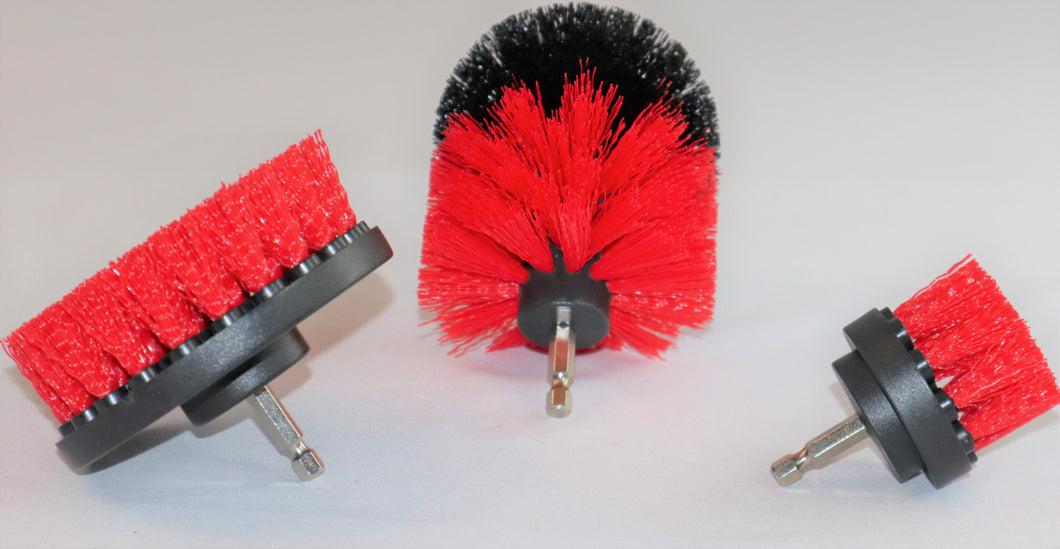 3 Piece Drill Brush Set RED