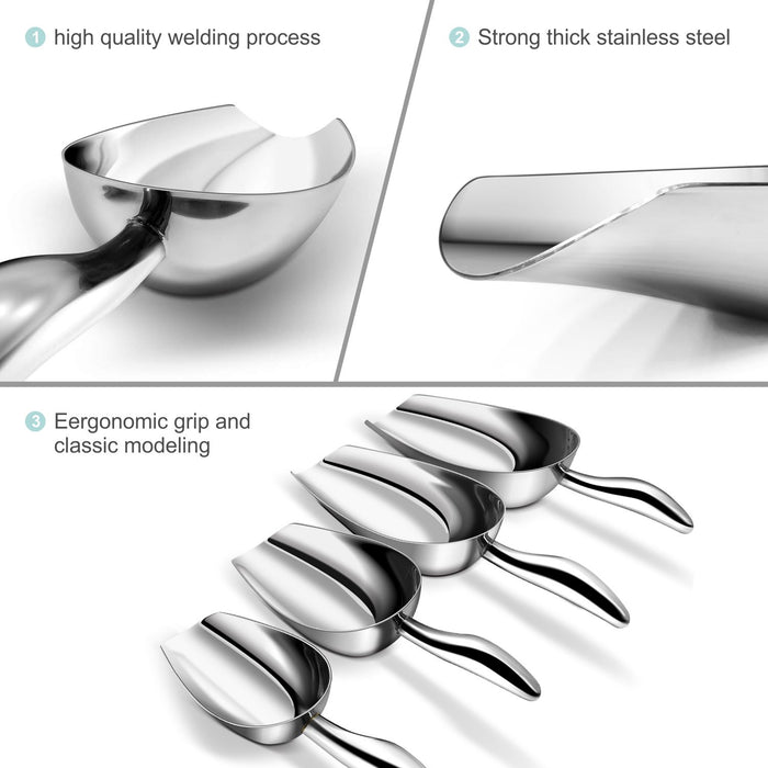 Fortune Candy Ice Scoop, Stainless Steel, Ergonomic Grip, Mirror Finish, Heavy Duty (3.5 fl oz)