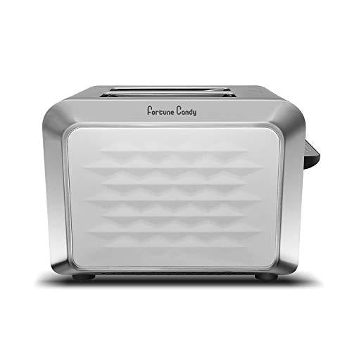 Fortune Candy 2-Slice Toaster, Stainless Steel, with Diamond Pattern, White - Fortune Candy
