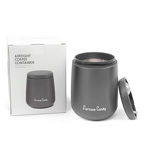 Fortune Candy Airtight Container - Stainless Steel, Magnetic Lid & Scoop - 18 oz, Matte Grey - Fortune Candy