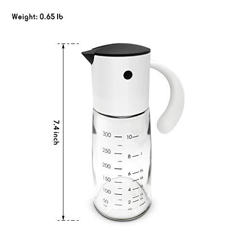 Fortune Candy Oil Dispenser, Reddot Award Winner, Gravity Oil & Vinegar Dispenser with Automatic Cap and Scale, Glass & PP, No-Drip Spout, for Liquid Condiments, 300 ml - Fortune Candy