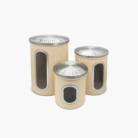 Fortune Candy Stainless Steel Canister Sets with Anti-Fingerprint Lid and Visible Window, Cereal Container Set of 3 (Pale Yellow) - Fortune Candy