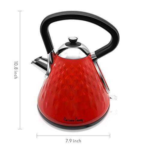 Fortune Candy KS-1011E Electric Kettle, Stainless Steel, with Diamond Pattern, Raspberry Red - Fortune Candy