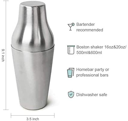 Fortune Candy Boston Shaker, 16 OZ & 20 OZ Mixers, 18/8 Stainless Steel, Brushed Finish