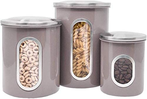 Fortune Candy Stainless Steel Canister Sets with Anti-Fingerprint Lid and Visible Window, Cereal Container Set of 3 (Brown) - Fortune Candy