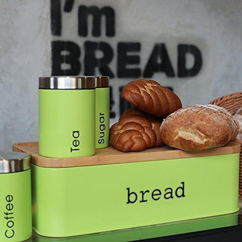 Fortune Candy Bread Box & Canister Set, Stainless Steel, Lime Green - Fortune Candy