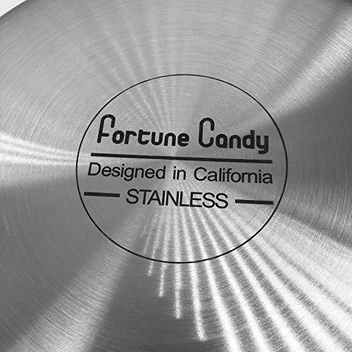Fortune Candy 8-Inch Fry Pan with Lid, 3-ply, 18/8 Stainless Steel - Fortune Candy