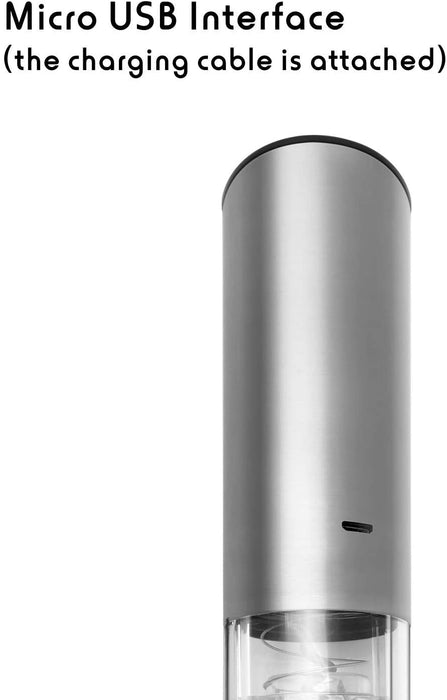 Fortune Candy Electric Wine Opener with Battery Indicator, Rechargeable, Cordless Automatic Corkscrew (Silver)