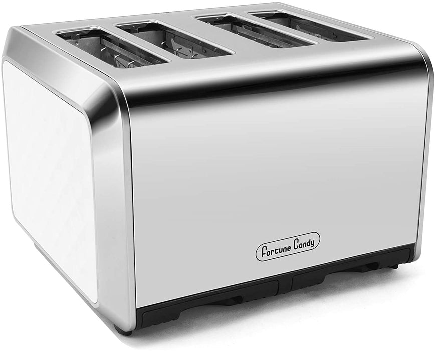 Fortune Candy KST012 4-Slice Toaster, Stainless Steel Housing, 7 Shade Settings, Extra Wide Slots for Bagels, 11 L x 10.8 W x 7.4 H inches, Diamond Pattern, White
