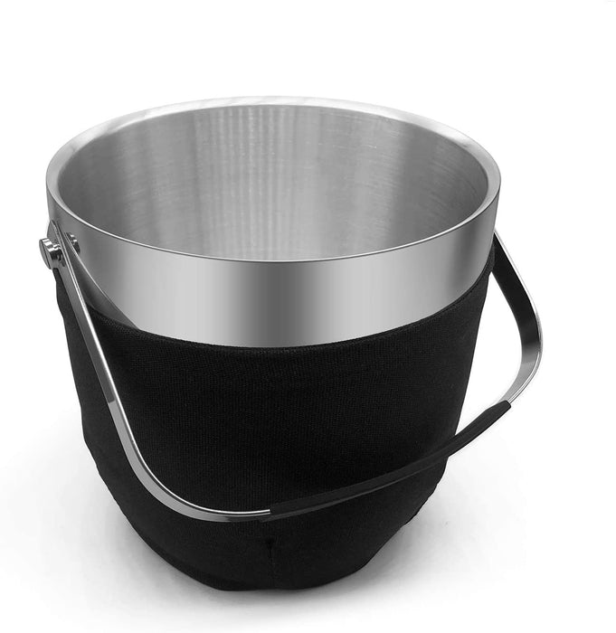 Fortune Candy Insulated Ice Bucket, Double Walled Stainless Steel Ice Bucket with Ice Tongs, Scoop, Lid, and Exclusive Handmade Nylon Holder, 2.8 L (Black)