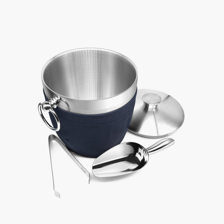 Fortune Candy Insulated Ice Bucket - Double Walled Stainless Steel Ice Bucket with Ice Tongs, Scoop, Lid, and Exclusive Handmade Nylon Holder - 2.8 L, Silver/Navy Blue 2 - Fortune Candy