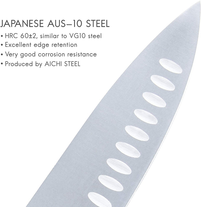 Fortune Candy 8 Inch Chef's Knife - Japanese AUS-10 Stainless Steel Kitchen Knife - Full Tang, Classic Handle (Silver)