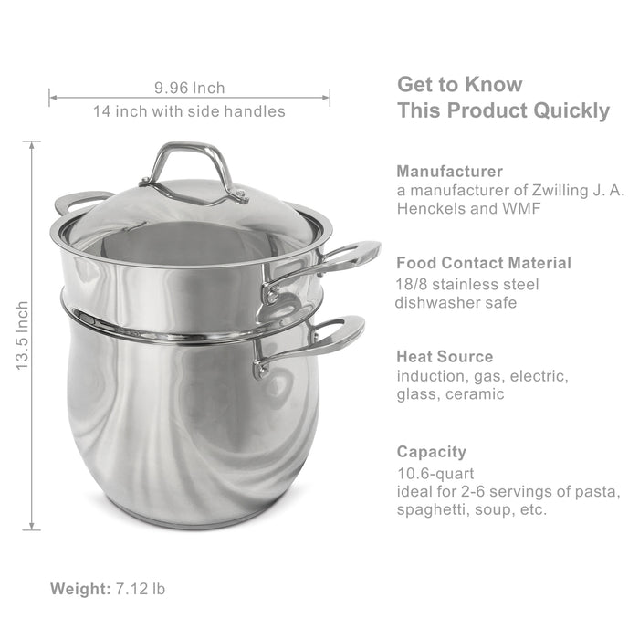 Fortune Candy 10-Quart Pasta Pot with Strainer Insert, 18/8 Stainless Steel