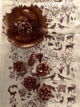 Load image into Gallery viewer, WOODLAND TOILE BLOCK PRINT ON NATURAL IRISH LINEN