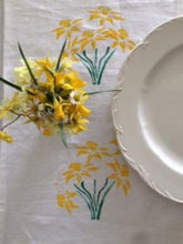 Load image into Gallery viewer, DAFFODIL TABLE RUNNER/DRESSER SCARF BLOCK PRINT ON IRISH LINEN