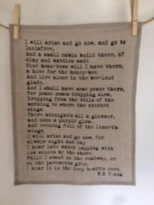 The Lake Isle of Innisfree by Irish Poet WB Yeats, silk screen print on Irish linen